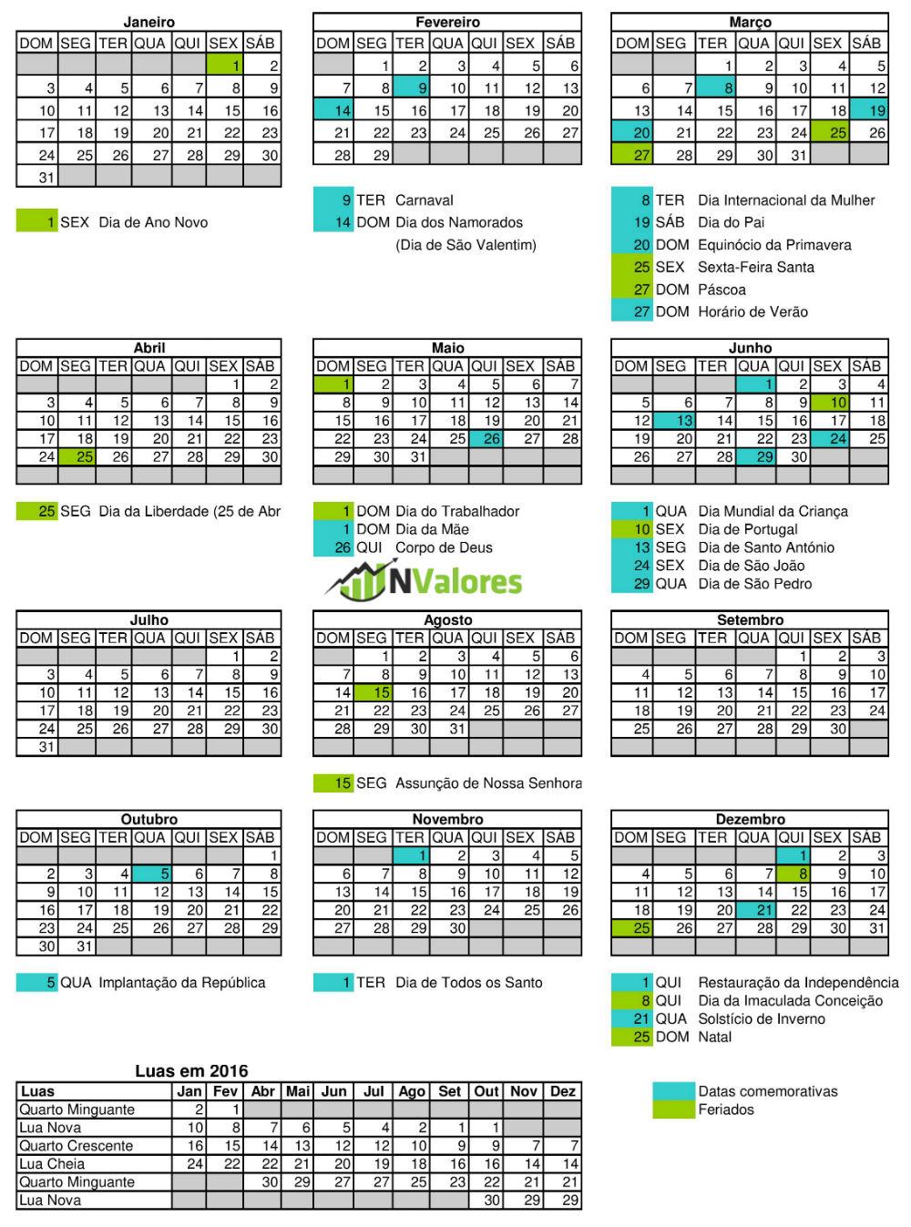Calendário para 2016 com feriados e datas comemorativas