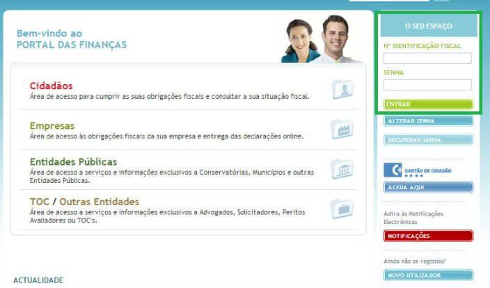 Entrar no portal das finanças online