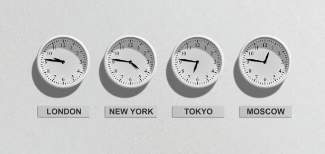 fuso horário em Londres, Nova York, Tokyo e Moscovo
