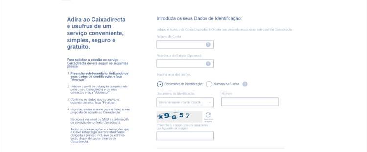 formulário de adesão ao caixadireta online