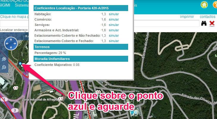Clique sobre o ponto azul para ver o coeficientes de localização