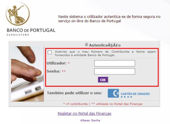 login no banco de portugal