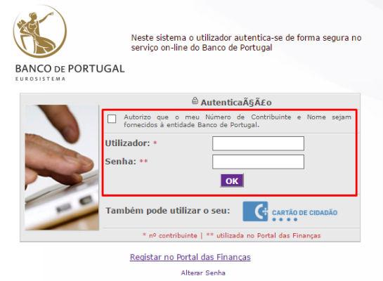 login no banco de portugal