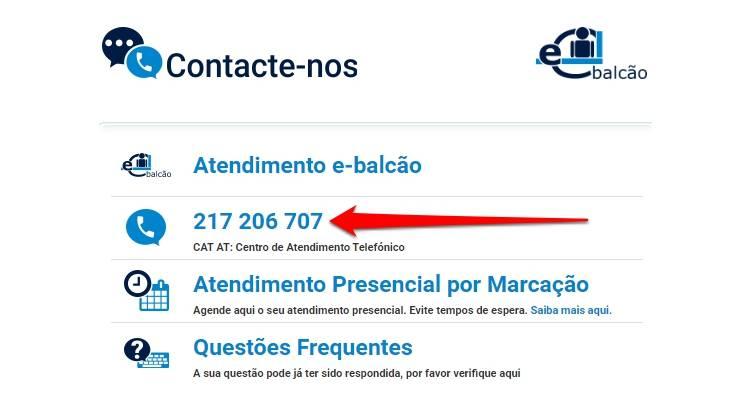 Contacto das Finanças