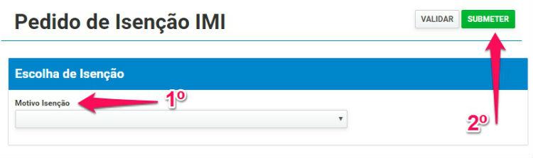 Pedido de isenção de IMI