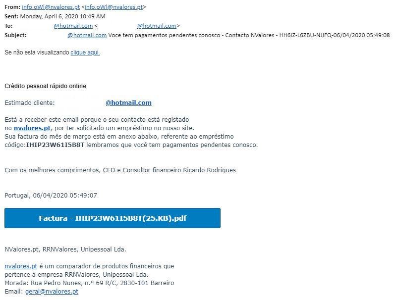 tentativa de phishing abril 2020