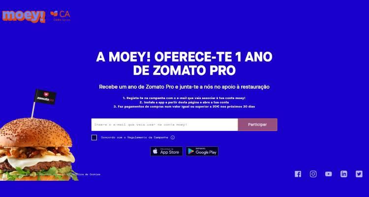 A moey! oferece 1 ano de Zomato Pro